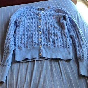 Polo Ralph Lauren blue button up sweater for Kids.